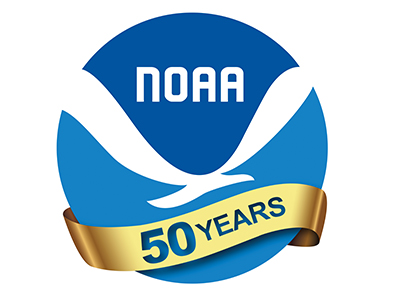 NOAA logo with 50 years gold ribbon across the bottom