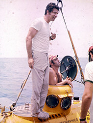 man standing on a submersible