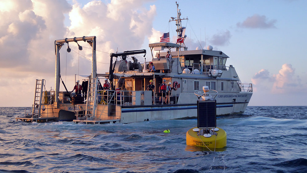 Research vessel at sea with a black and yellow buoy in the foreground