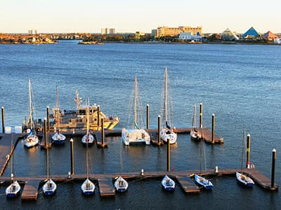 Boats lined up at the docks behind Sea Star Base Galveston