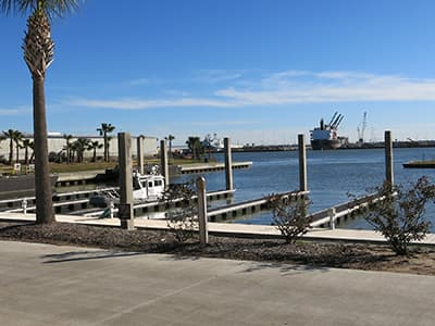 Empty boat slips on the Texas A&M Galveston waterfront