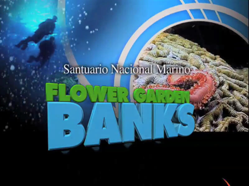 Opening screen of Flower Garden Banks National Marine Sanctuary introductory video in Spanish
